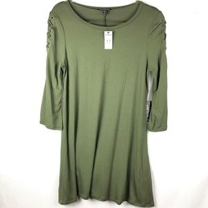 Express | Green Dress Tunic w Lace Up Sleeves